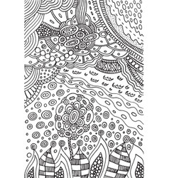 Coloring page with doodle flower and landscape vector