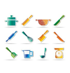 Cooking equipment and tools icons vector