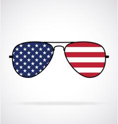 cool aviator sunglasses with usa flag vector image