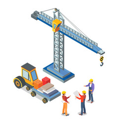 Crane and truck with containers workers talking vector