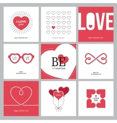 Creative love design concepts set with hearts vector image