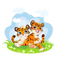 Cute cartoon little tigers playing on a meadow vector