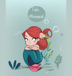 Cute cartoon mermaid vector