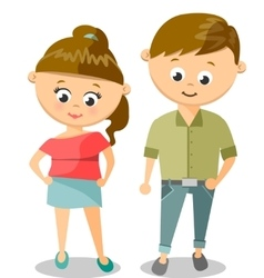 Cute Cartoon Of Young Woman And Man vector image