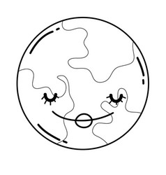 cute moon cartoon in black and white vector image