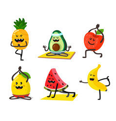 Different fruits do yoga in poses vector
