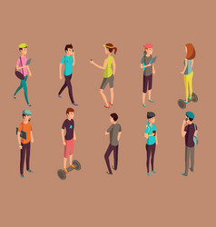 Different hipsters standing and using gadgets vector