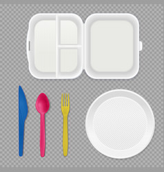 Disposable tableware transparent set vector