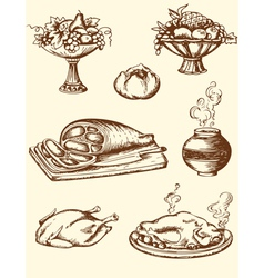 drawing vintage food vector image
