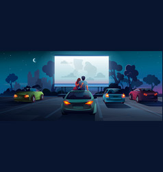 Drive cinema or car movie theater and auto theatre vector