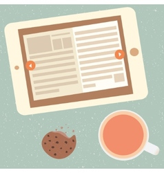 E-book and cup of tea vector