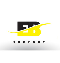 eb e b black and yellow letter logo with swoosh vector image