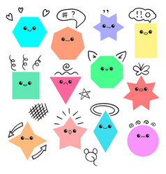 emoji from geometric figures fun set vector image