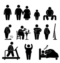 fat man woman kid child couple obesity overweight vector image