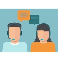 Flat call center operators vector