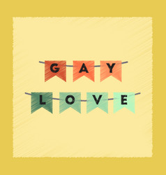 flat shading style icon gay love garland vector image