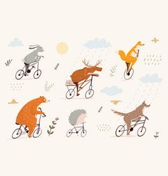 fun and sweet animals riding bicycles bear fox vector image