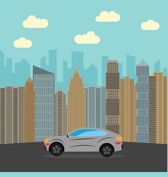 gray car in the city vector image