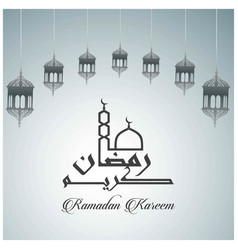 hanging lamp ramadan kareem islamic greeting card vector image