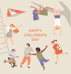 happy international children day greeting card vector image