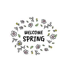 Hello spring cartoon sketch vector