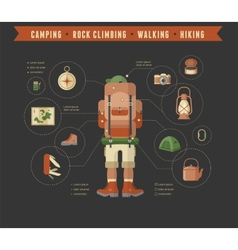 Hiking and camping equipment - icon set and vector image