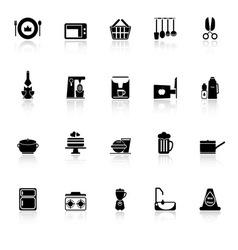 Home kitchen icons with reflect on white vector