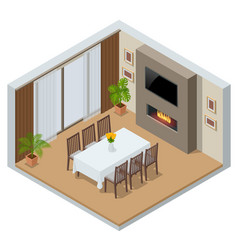 isometric elegant dining room with window tv and vector image