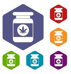 Jar of powder marijuana icons set vector image