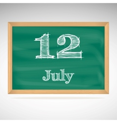 July 12 day calendar school board date vector
