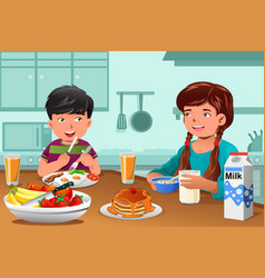 Kids eating healthy breakfast vector