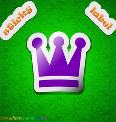 King Crown icon sign Symbol chic colored sticky vector