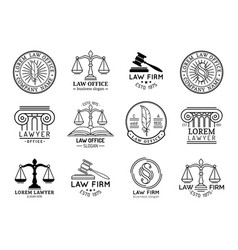 Law office symbols set with scales of justice vector