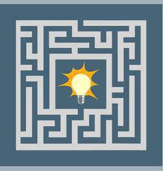 light bulb inside the maze vector image