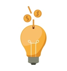 Ligth bulb with dollar coins vector