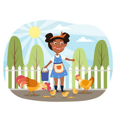 Little girl feeds chickens in yard vector