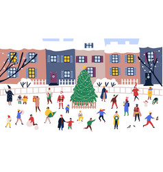 men and women walking around big christmas tree vector image