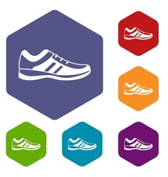 Men sneakers icons set vector