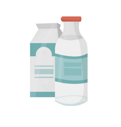 milk in a bottle and in a cardboard package vector image