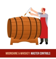 Moonshine and whiskey Oak barrel vector image