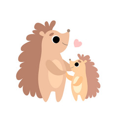 Mother hedgehog and its baby cute forest animal vector