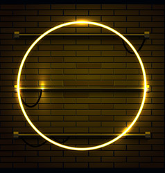 Neon lamp circle frame on brick wall background vector