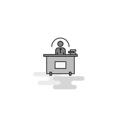 office desk web icon flat line filled gray icon vector image