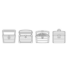 old dower chest icon set outline style vector image