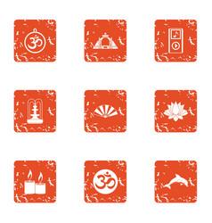 Oriental manner icons set grunge style vector