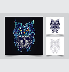 owl and devil artwork vector image