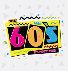 Party time the 60s style label vector