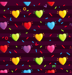 pattern with multi-colored hearts vector image