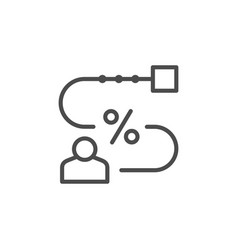 Person and royalty rate line outline icon vector