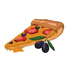 pizza slice tomato olive vector image